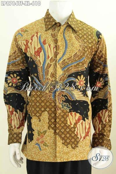Batik Hem Lengan Panjang Mewah, Pakaian Batik Lelaki Dewasa Lengan Panjang Full Furing Buat Penampilan Lebih Berwibawa [LP8764TF-XL]