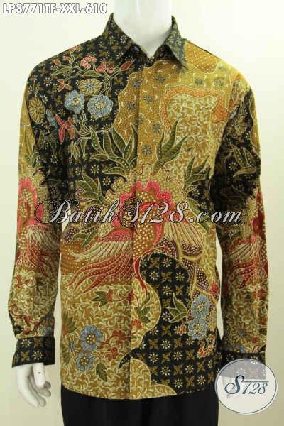 Hem Batik Mewah Halus Size XXL, Kemeja Batik Full Furing Masa Kini Untuk Penampilan Lebih Istimewa Buat Lelaki Gemuk [LP8771TF-XXL]
