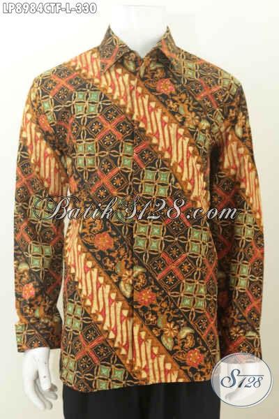 Batik Hem Full Furing Model Lengan Panjang, Kemeja Batik Elegan Klasik Cap Tulis, Pas Buat Rapat [LP8984CTF-L]