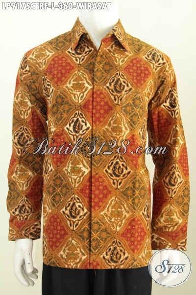 Jual Baju Batik Pria Online Lengan Panjang Full Furing Mewah Motif Bagus 360 Ribu Motif Wirasat Cap Tulis [LP9175CTRF-L]