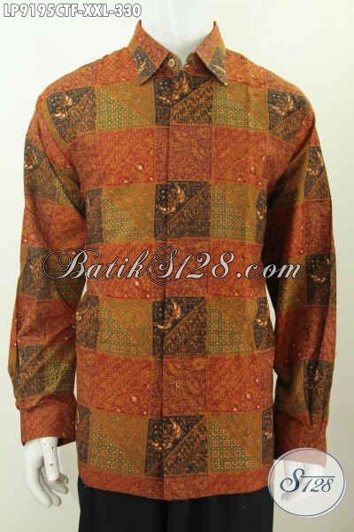 Hem Batik Ukuran Big Size Buat Pria Gemuk, Baju Batik Kwalitas Premium Full Furing Lengan Panjang Bahan Adem, Penampilan Lebih Sempurna Dengan 300 Ribuan [LP9195CTF-XXL]