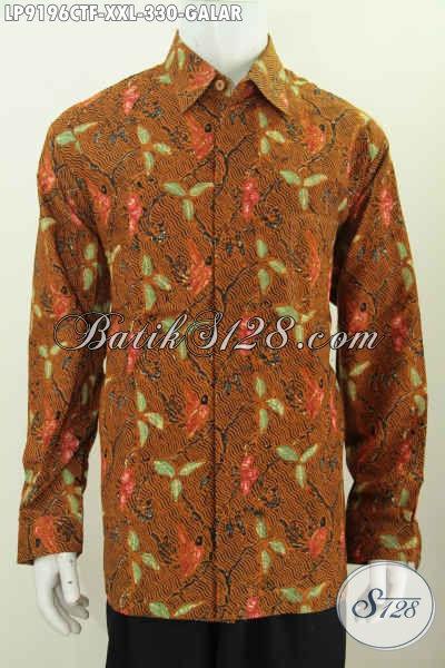 Jual Baju Batik Pria Big Size, Hem Lengan Panjang Klasik Motif Galar Full Furing Proses Cap Tulis Harga 330K [LP9196CTF-XXL]