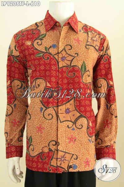 Baju Batik Lengan Panjang Desain Formal Lengan Panjang Full Furing, Pakaian Batik Tulis Berkelas Untuk Pria Tampil Beda Dan Berkelas [LP9208TF-L]