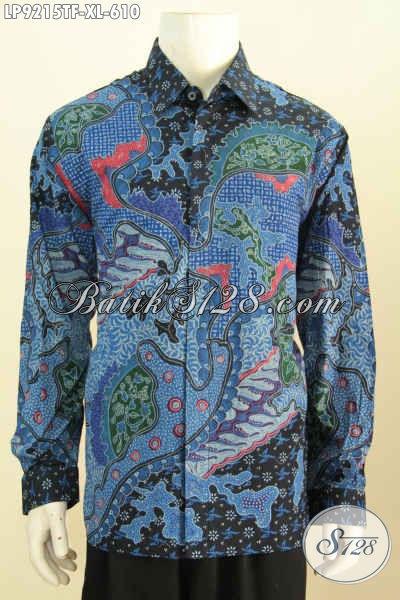 Jual Baju Batik Lengan Panjang Full Furing Halus Motif Klasik Bahan Adem Proses Tulis, Bikin Lelaki Terlihat Menawan Dan Macho [LP9215TF-XL]