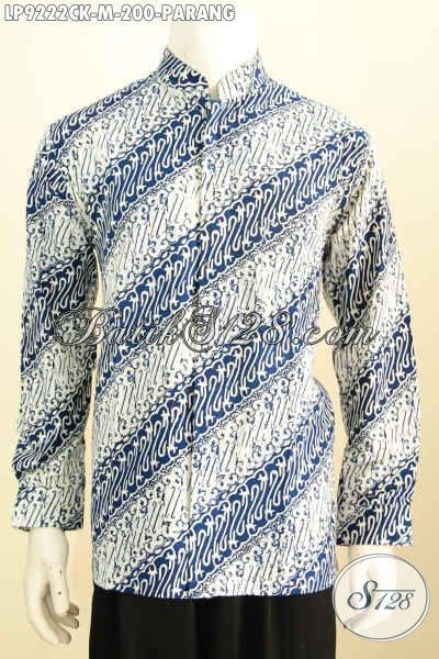 Contoh kemeja batik koko cerah 2 warna biru dan putih