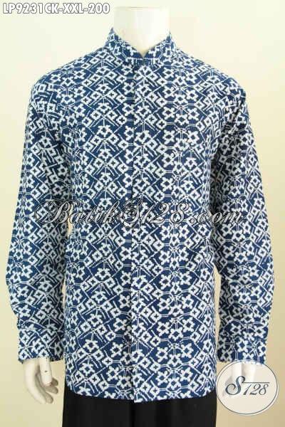 Baju Batik Halus Lengan Panjang Model Koko Kerah Shanghai, Busana Batik Kerja Dan Acara Resmi Yang Bikin Pria Gemuk Tampil Tampan Berkelas [LP9231CK-XXL]