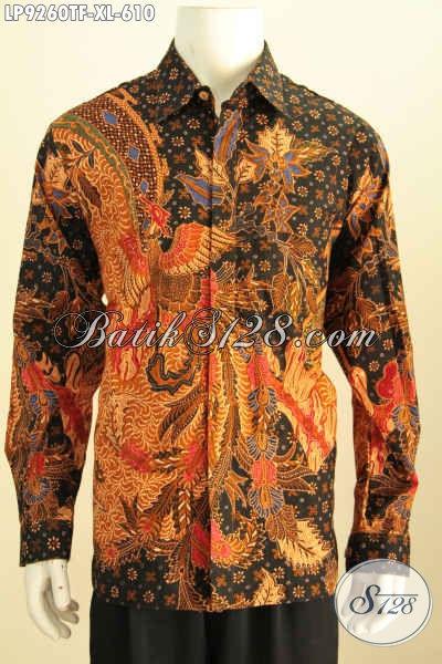 Baju Hem Batik Solo Terkini, Kemeja Batik Mewah Full Furing Lengan Panjang Motif Klasik Tulis Asli, Penampilan Lebih Gagah Dan Berwibawa [LP9260TF-XL]
