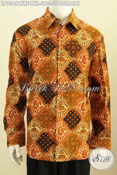 Toko Busana Batik Online Jual Hem Batik Cap Tulis Motif Klasik Sidodrajat Lengan Panjang Pake Furing, Bikin Penampilan Pria Gemuk Lebih Berkelas [LP9346CTRF-XXL]