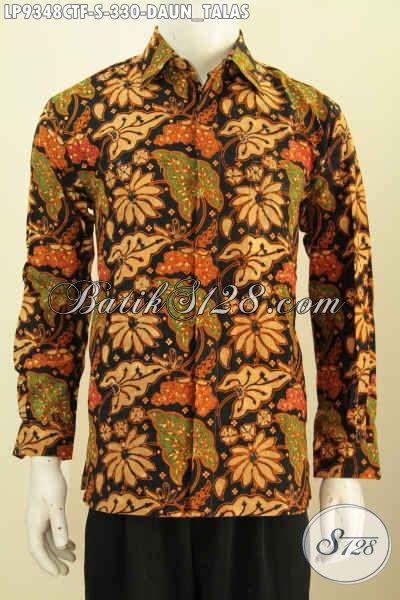 Baju Batik Untuk Kerja Motif Keren Cap Tulis Motif Daun Talas, Pakaian Batik Modis Lengan Panjang Mewah Dengan Daleman Full Furing Hanya 330K [LP9348CTF-S]