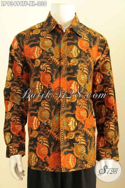 Baju Batik Solo Istimewa, Kemeja Lengan Panjang Halus Motif Terkini Cap Tulis Daleman Full Furing, Modis Buat Kerja Dan Pesta [LP9349CTF-XL]