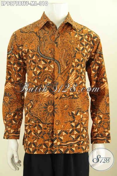 Baju Kemeja Batik Klasik Lengan Panjang Pake Furing, Pakaian Batik Berkelas Pria Muda Dan Dewasa Proses Kombinasi Tulis Harga 310K [LP9379BTFF-M]