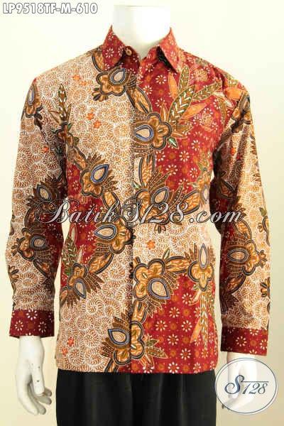 Toko Busana Batik Premium Online Terpercaya, Sedia Kemeja Mewah Khas Pejabat Lengan Panjang Full Furing Tulis Asli 610K [LP9518TF-M]