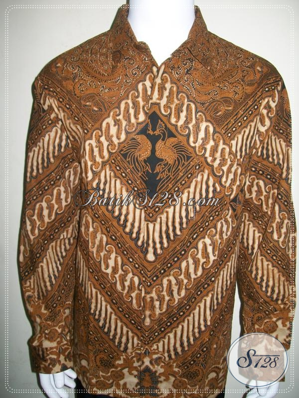 Kemeja Batik Pria Motif Klasik Warna Soga, Untuk Pejabat [LP972BT-XL]