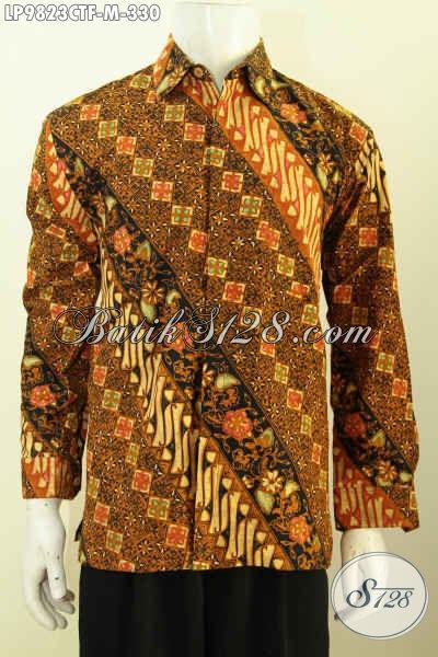 Hem Batik Klasik Istimewa, Busana Batik Kwalitas Premium Model Lengan Panjang Full Furing, Busana Batik Cap Tulis Yang Bikin Lelaki Tampil Gagah [LP9823CTF-M]