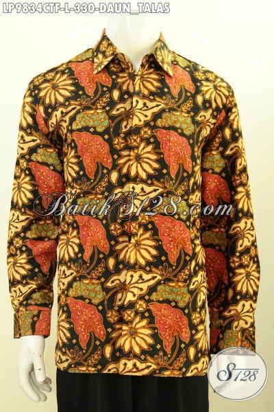 Jual Kemeja Batik Full Furing Lengan Panjang Berkelas Bahan Adem Motif Klasik Daun Talas, Pakaian Batik Cap Tulis Istimewa  Cocok Untuk Kerja Dan Rapat [LP9834CTF-L]