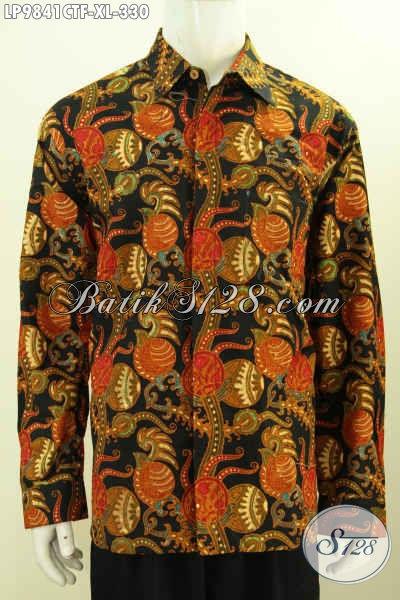 Batik Hem Kerja Istimewa, Busana Batik Kwalitas Premium Lengan Panjang Full Furing Buatan Solo Asli Motif Proses Cap Tulis Kwalitas Bagus Hanya 300 Ribuan [LP9841CTF-XL]