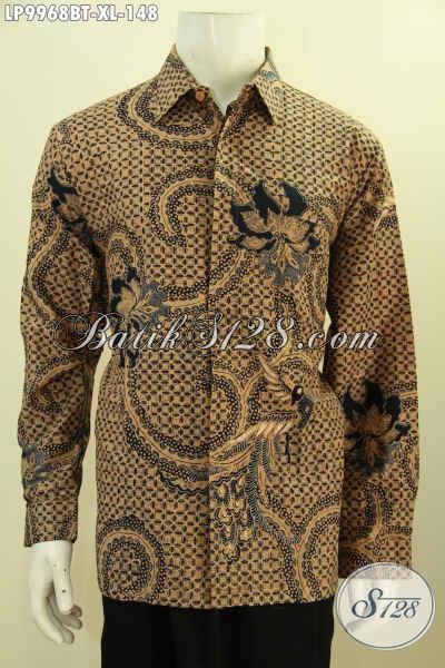 Baju Batik Solo Klasik Lengan Panjang Motif Mewah, Produk Baju Batik Solo Istimewa Yang Membuat Penampilan Tampan Mempesona [LP9968BT-XL]