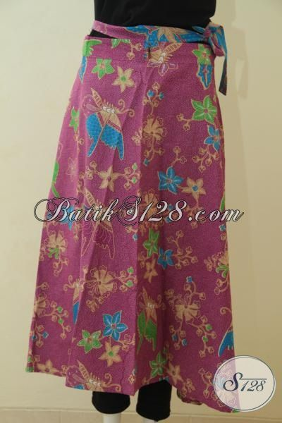 Rok Lilit Bahan Batik Solo Printing Kwalitas Bagus, Jual Baju Bawahan Batik Jawa Motif Bunga Dan Kupu Cewek Banget [R3568P-All Size]