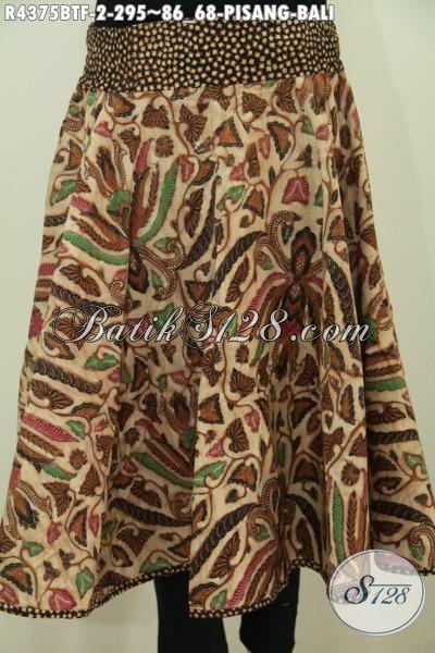 Jual Online Rok Batik Spesial Untuk Kerja Dan Santai, Produk Busana Bawahan Batik Wanita Karir Desain Terbaru Motif Pisang Bali Proses Kombinasi Tulis Untuk Penampilan Lebih Berkelas [R4375BTF-All Size]