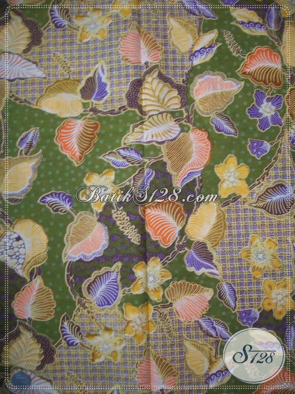 Kain Batik Motif Daun Dan Bunga Warna Hijau,Trend Batik Masa Kini [KP582]
